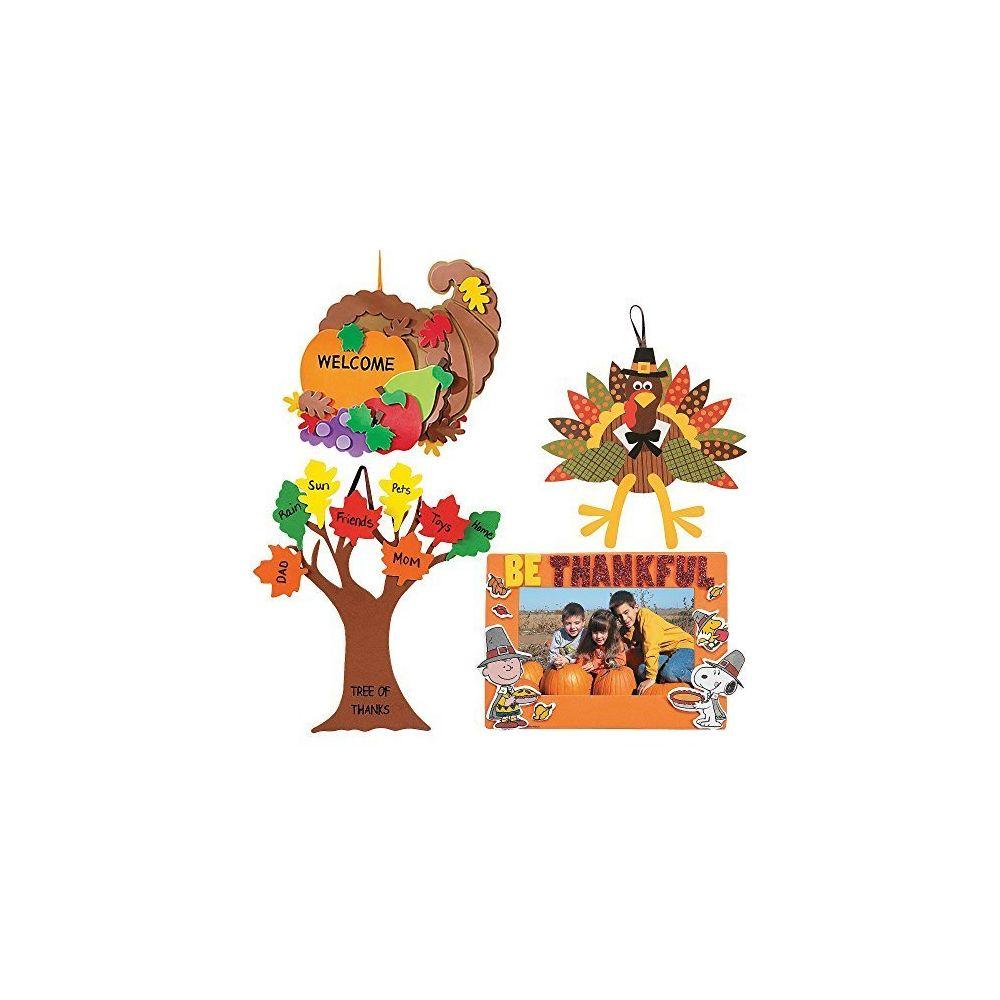 Meet Craft Kits Thanksgiving & Autumn | Peanuts Be Thankful Picture Frame Magnet Kit Foam Cornucopia Door Sign Kit Turkey Mak