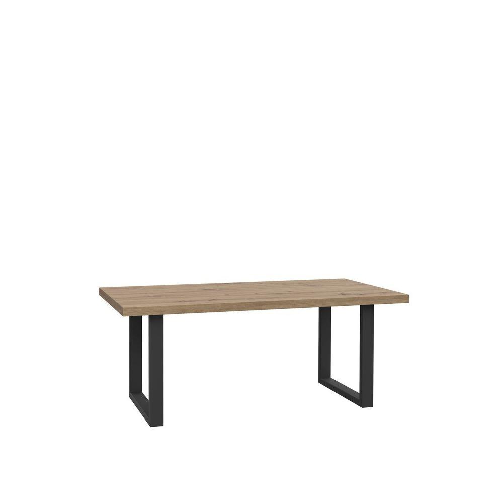 Meubletmoi Table basse rectangulaire bois clair pieds métal - ZIG