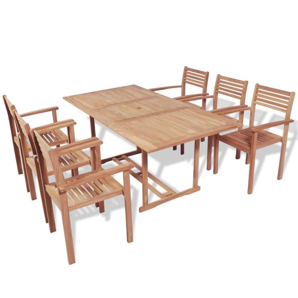 Vidaxl vidaXL Mobilier à dîner d'extérieur 7 pcs Bois de teck solide