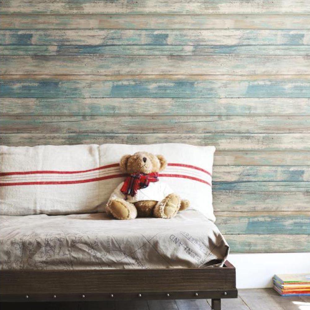 Mon Beau Tapis VINTAGE WOOD - Papier peint adhésif repositionnable et facile à poser imitation bois vielli bleu 5x0,50m