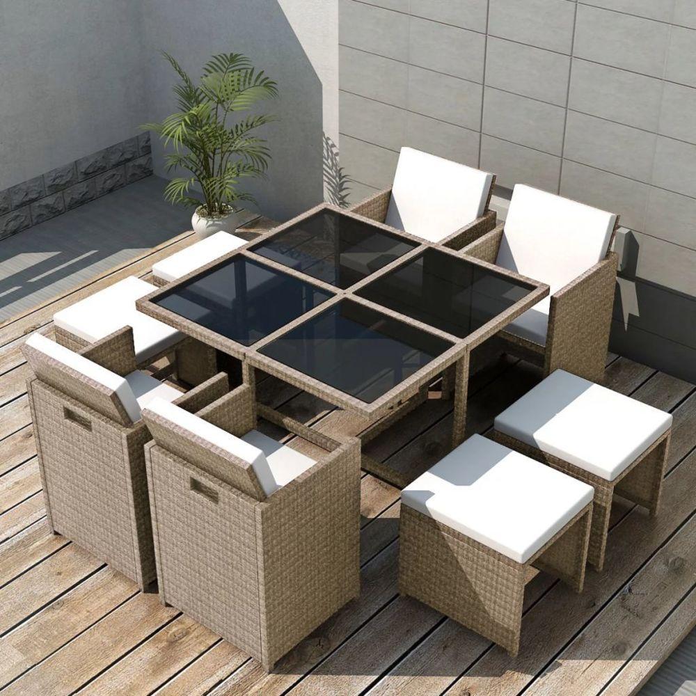 Vidaxl vidaXL Salon de jardin encastrable avec coussins 9 pcs Rotin Beige