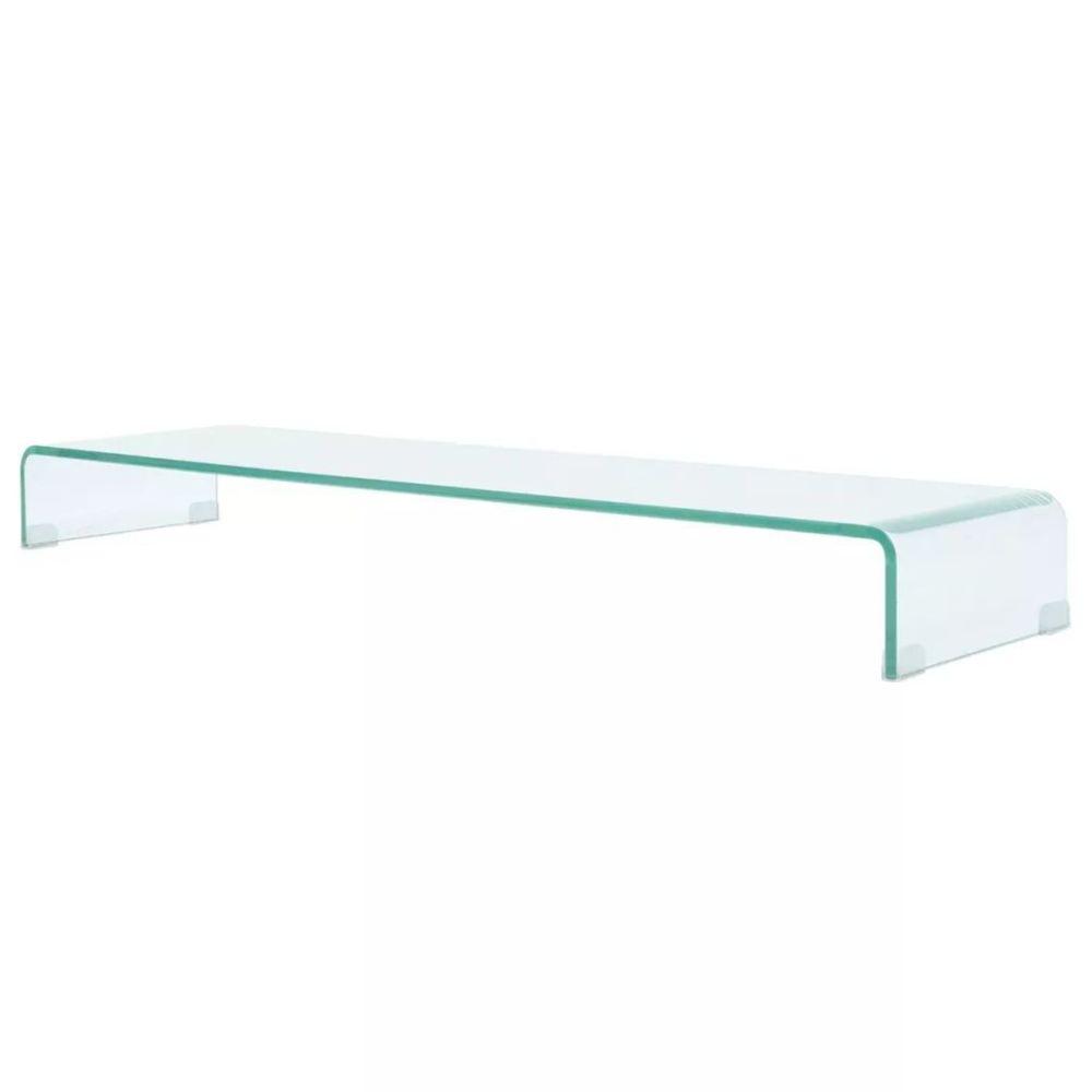 Helloshop26 Meuble télé buffet tv télévision design pratique de moniteur 120 cm verre transparent 2502220