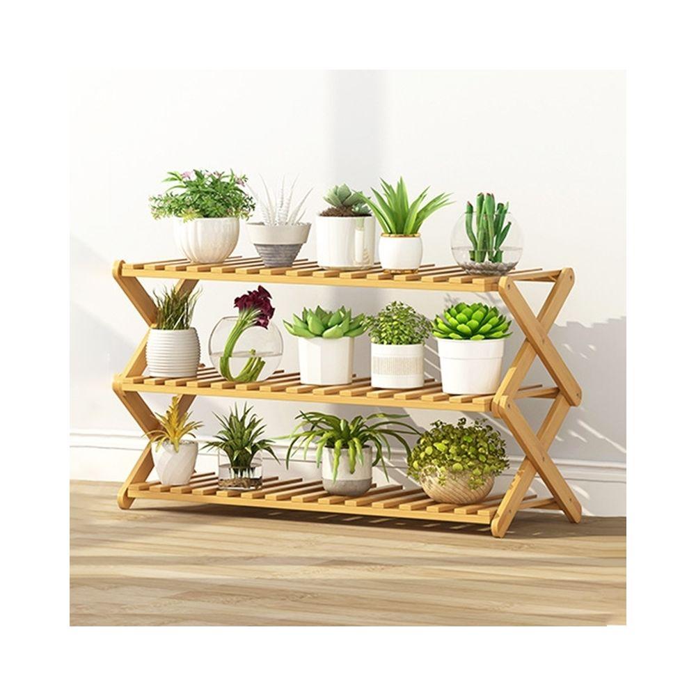 Wewoo Salon de balcon à 3 couchessupport de fleurs pliant en bois massifétagères de plantation potlongueur 80 cm