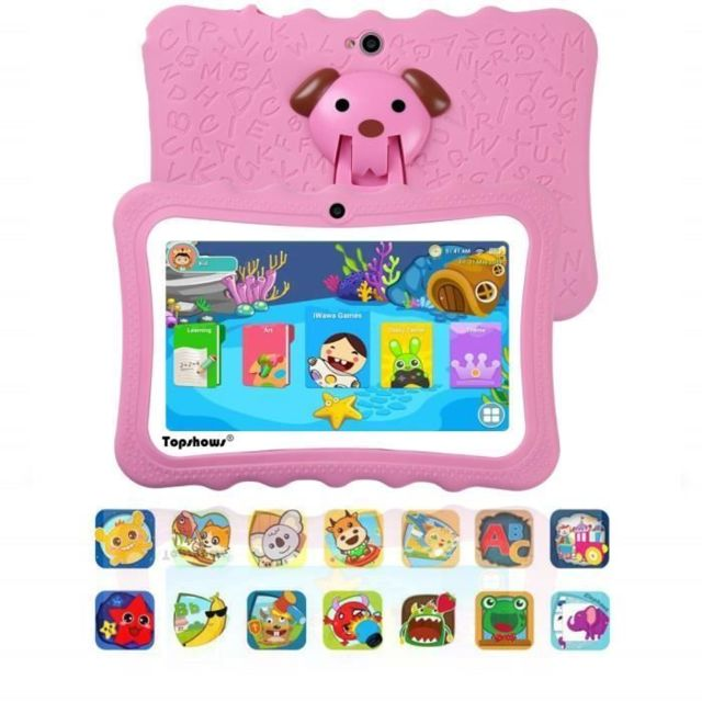 Lamzien - Tablette Tactile Enfants 16Go -TOPSHOWS 7''HD Tablette Éducative Enfants -RAM 1Go -Quad Core -Android -Rose - Tablette tactile