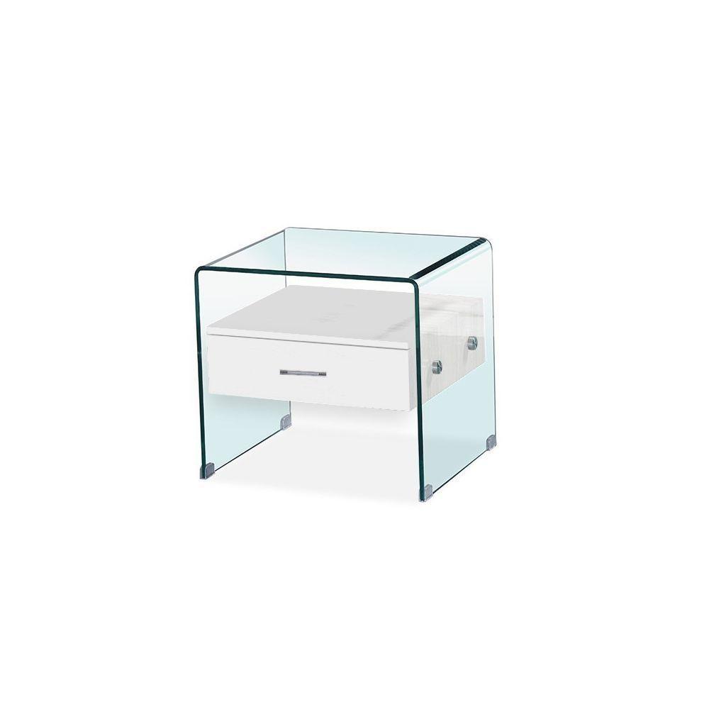 Meubler Design Table de chevet en verre ELSA - Blanc