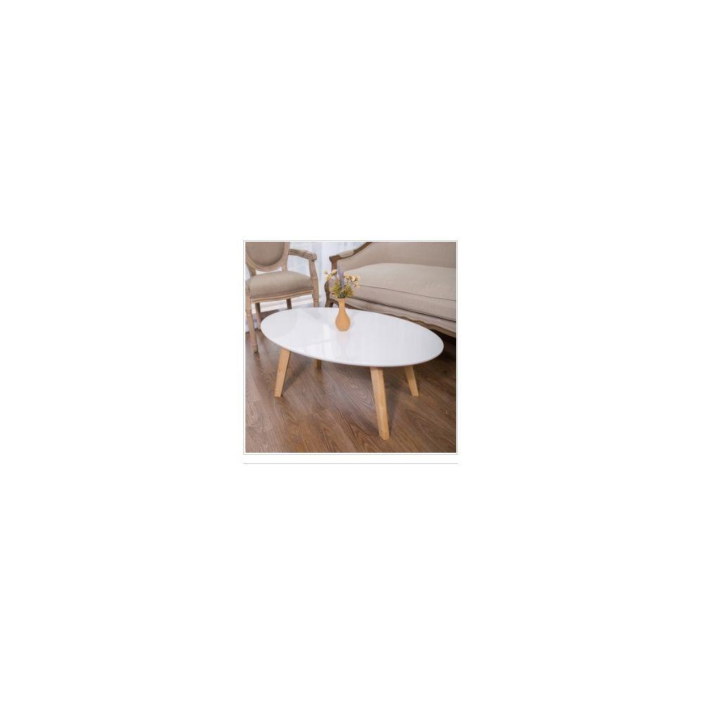Wewoo Tables de café Mobilier de en bois massif Table basse ovale Canapé d'appoint Assemblage Bureau Blanc 120x60x42cm