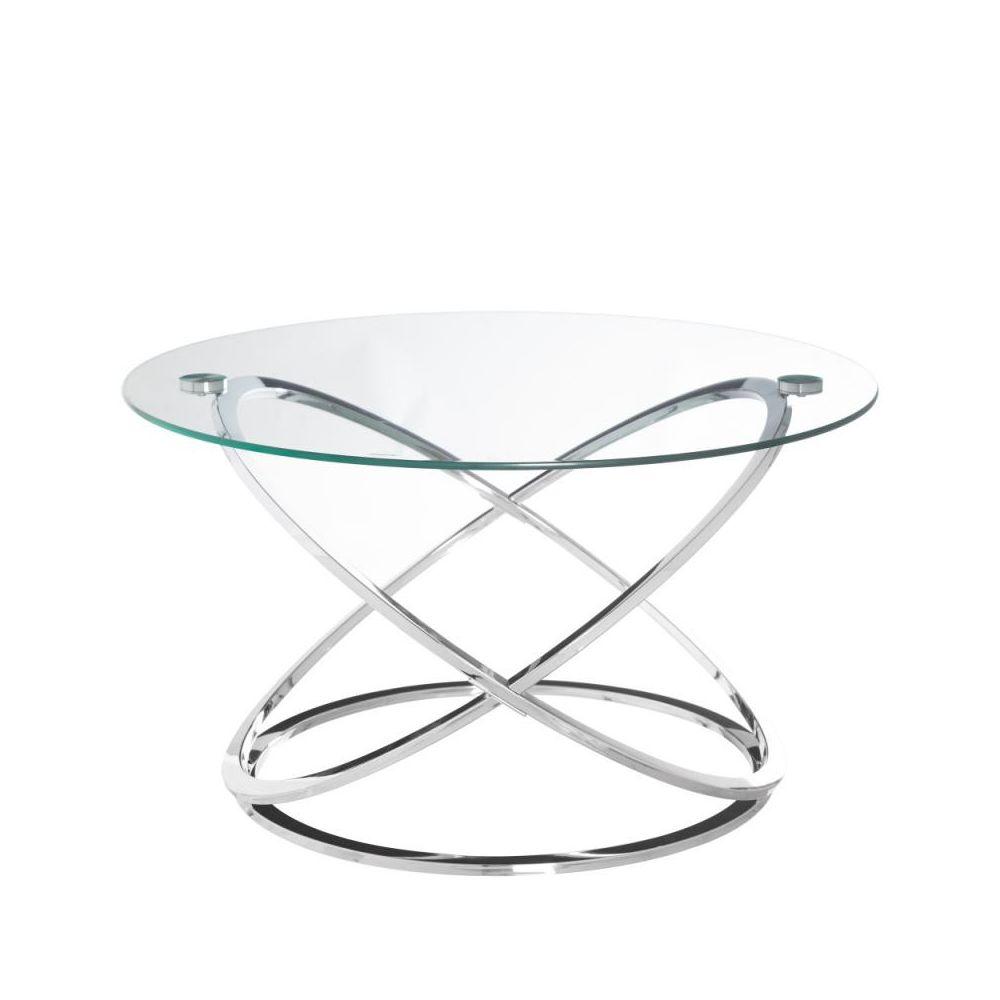 Tousmesmeubles Table basse ronde Verre/Métal - GOTE