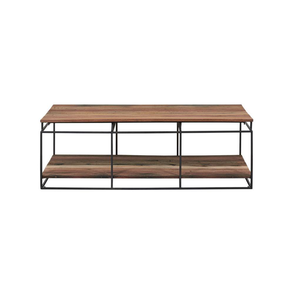 Tousmesmeubles Table basse rectangulaire Fer/Bois double plateau - PHOENIX