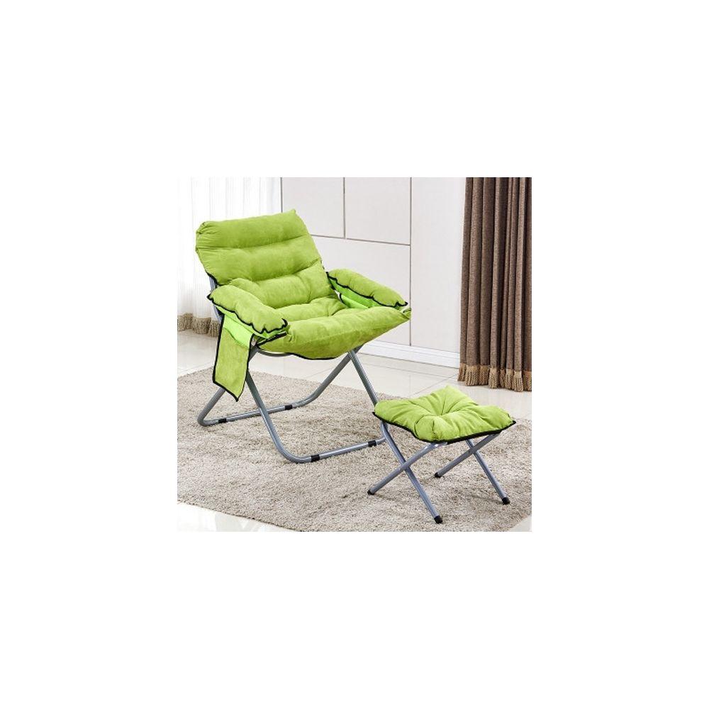 Wewoo Salon créatif pliant paresseux canapé chaise simple longue tatami avec repose-pieds vert