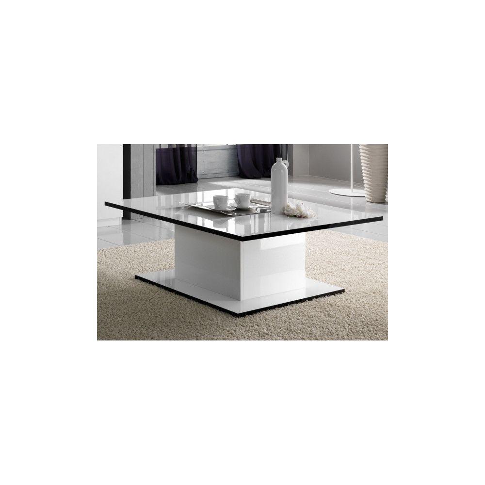 Dansmamaison Table basse rectangulaire laquée Blanc - ZEME - L 110 x l 60 x H 43 cm