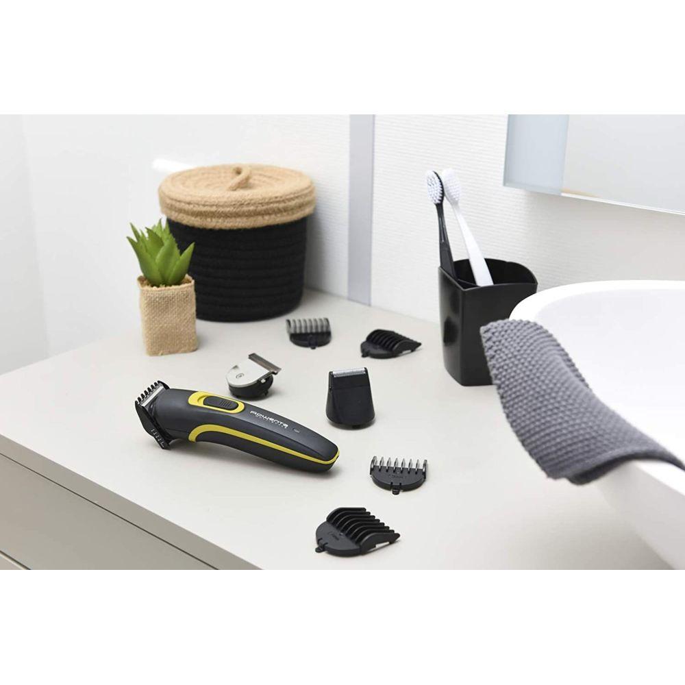 Rowenta Tondeuse multifonction 2 en 1 barbe cheveux avec ou sans fil et 8 accessoires jaune noir