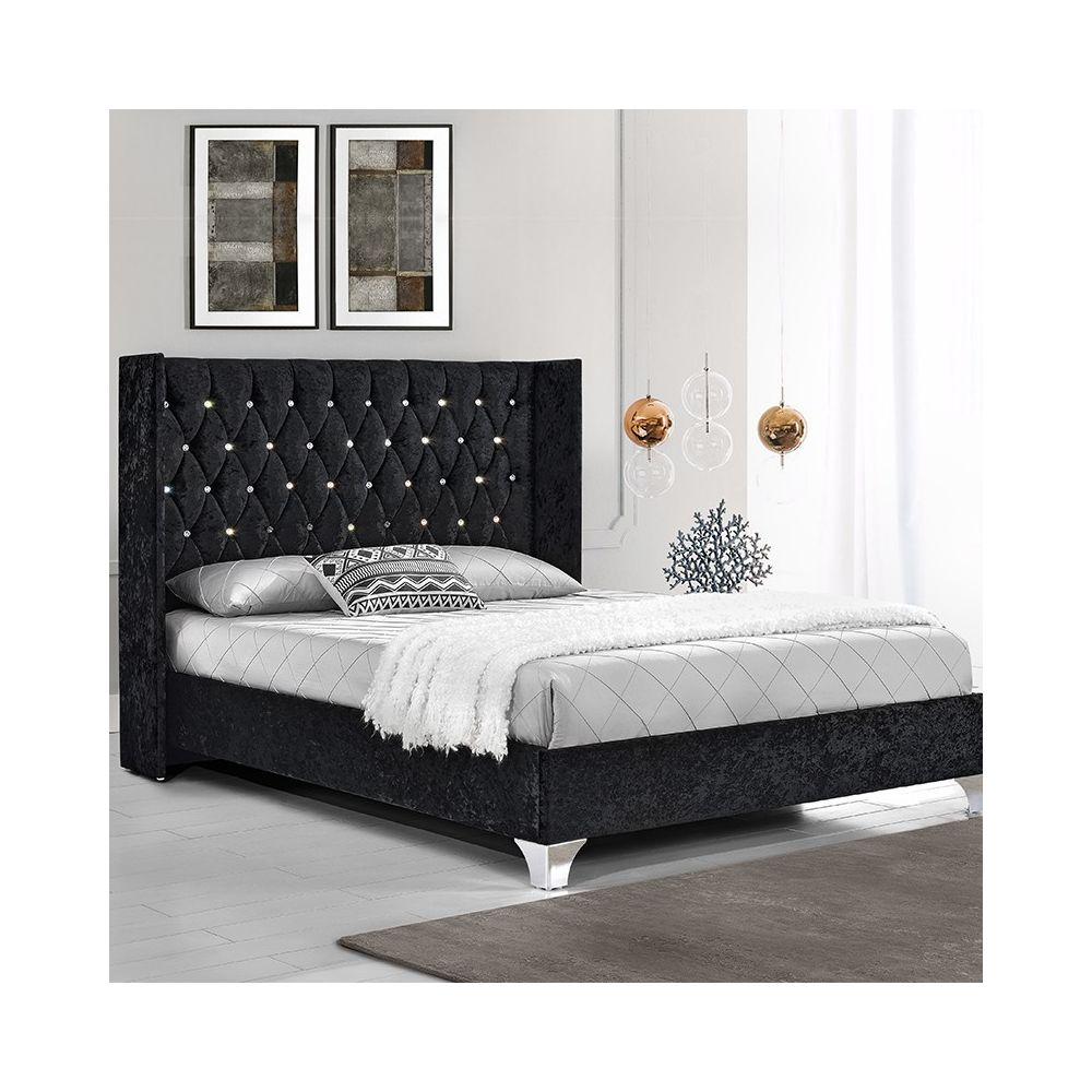 Meubler Design Lit capitonné grand tête de lit Focuse - Noir - 140x190