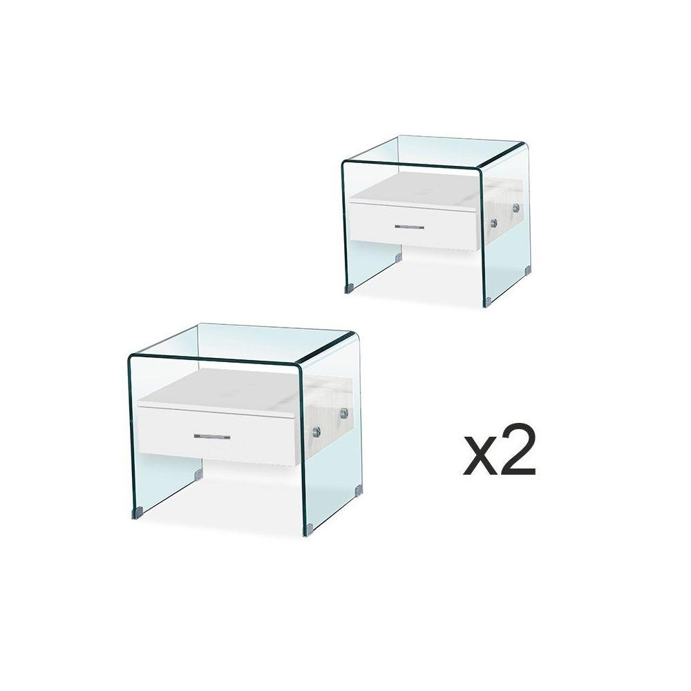 Meubler Design Lot de Table de chevet en verre ELSA Blanc