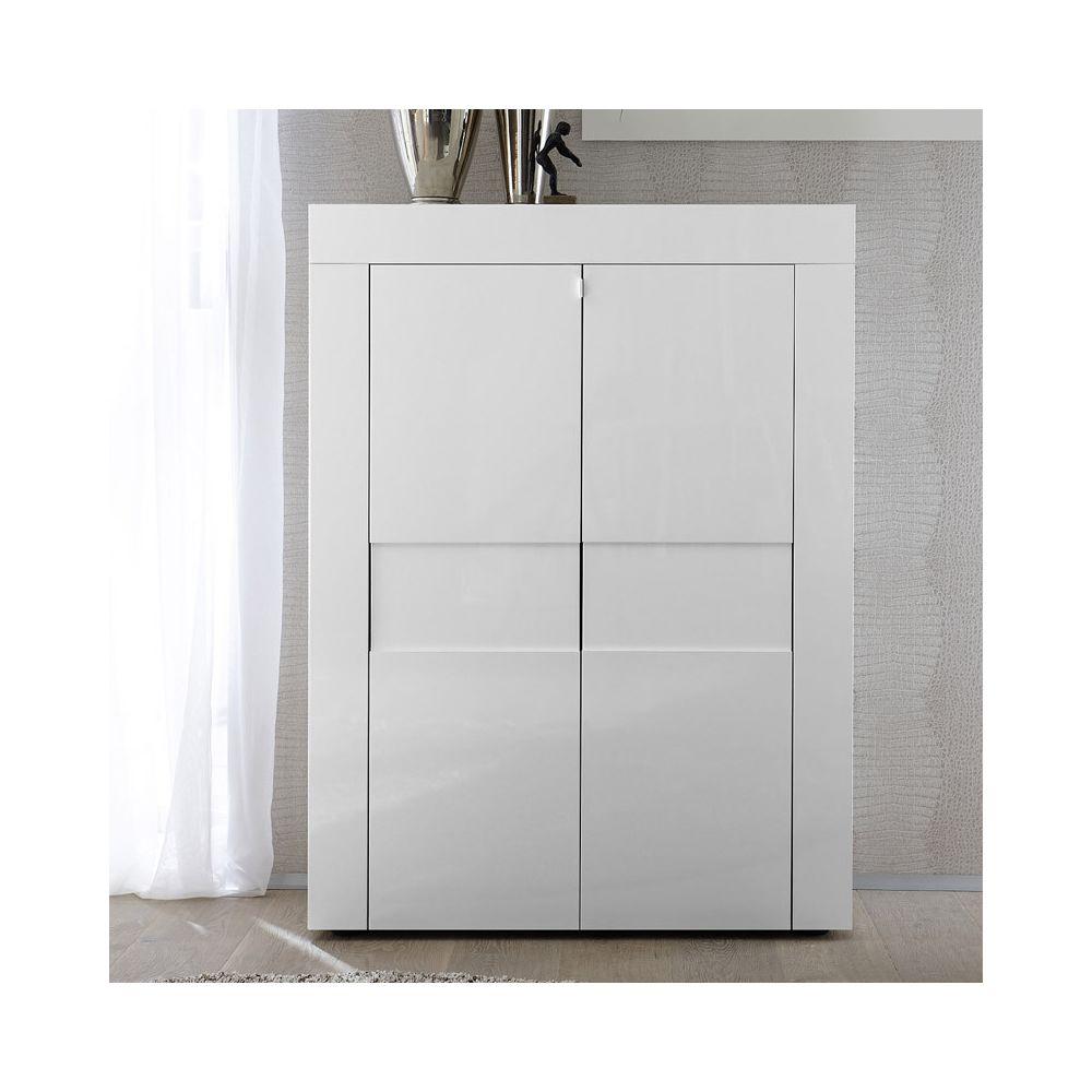 Tousmesmeubles Vaisselier 2 portes laqué Blanc brillant - TRANI
