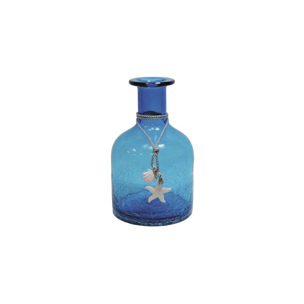 Aubry Gaspard Vase petite bouteille en verre teinté bleu