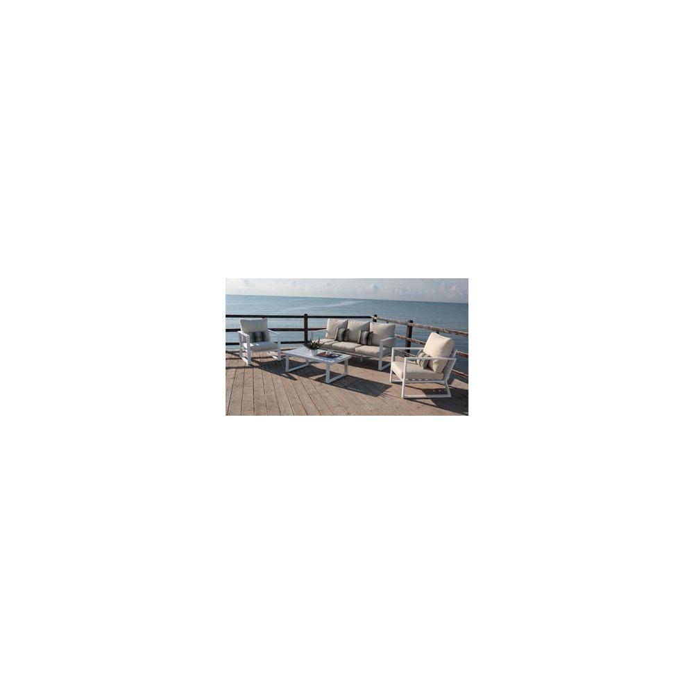 Hevea Hevea Ensemble Salon Sofa De Jardin BOLON 8 en ALUMINIUM BLANC Coussins couleur BEIGE HEV31467