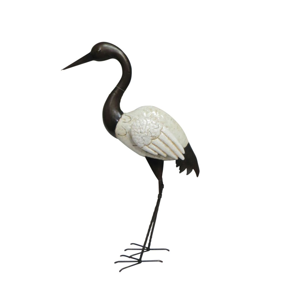 Douceur D'Interieur Echassier en métal noir et blanc 80 cm