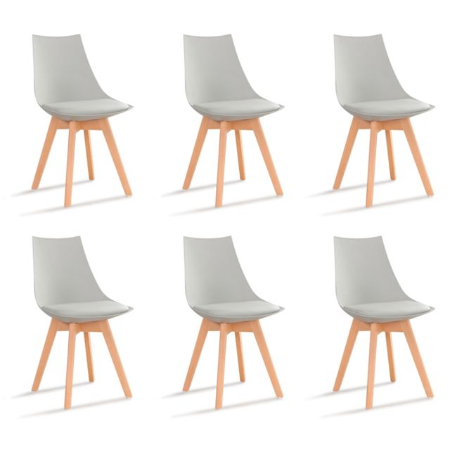 Oneboutic - Lot de 6 chaises scandinaves grises - Prague - Chaises