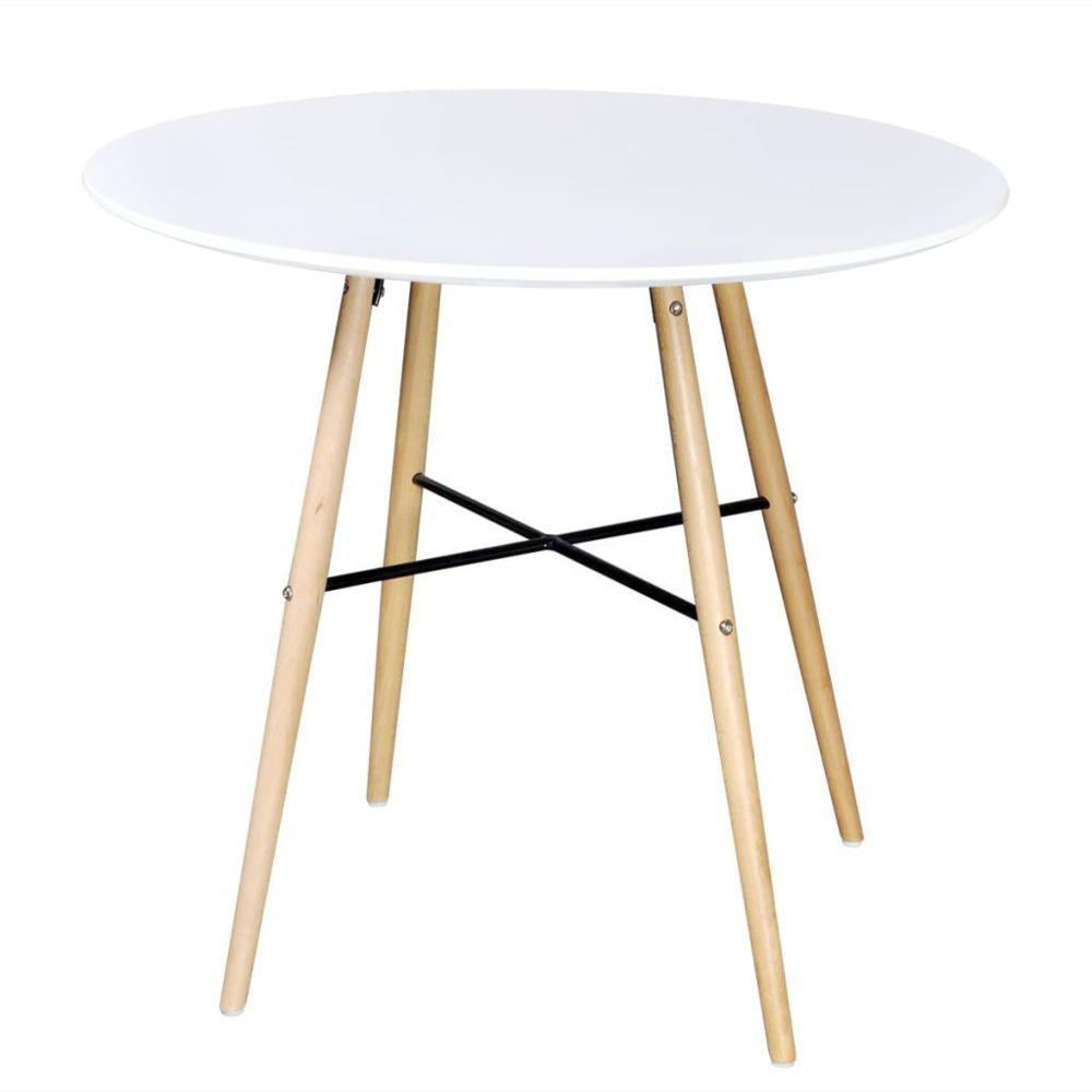 Helloshop26 Table de salon salle à manger dîner design ronde mdf blanc 0902256