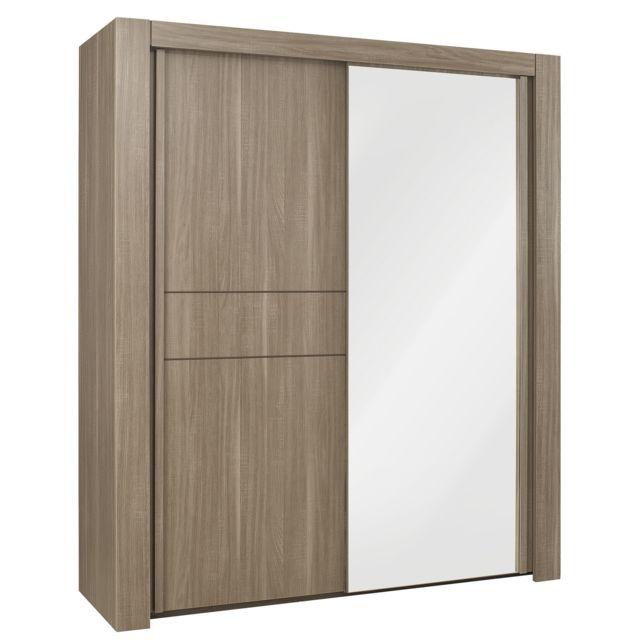 armoire moka avec 2 portes coulissantes