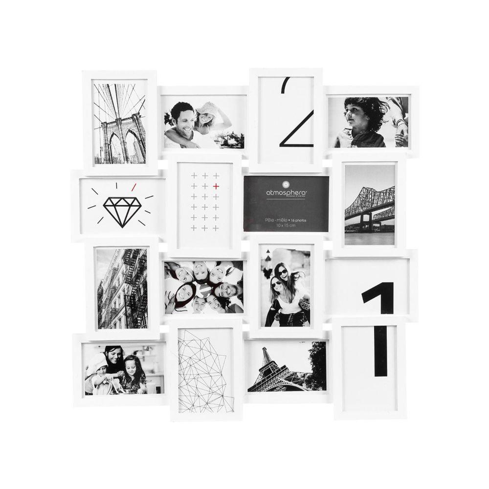 Atmosphera, Createur D'Interie Cadre pêle mêle carré contemporain - blanc - Atmosphera
