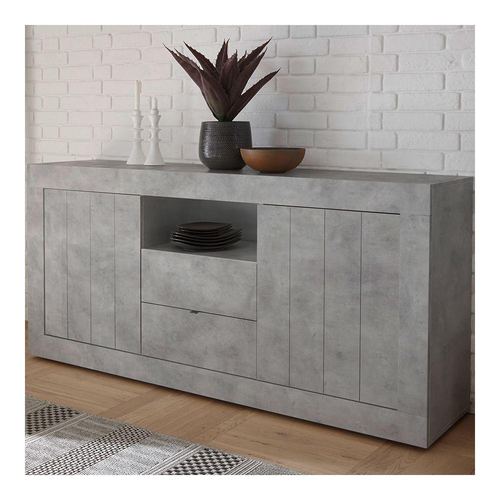Kasalinea Buffet moderne 180 cm effet gris béton MABEL 2