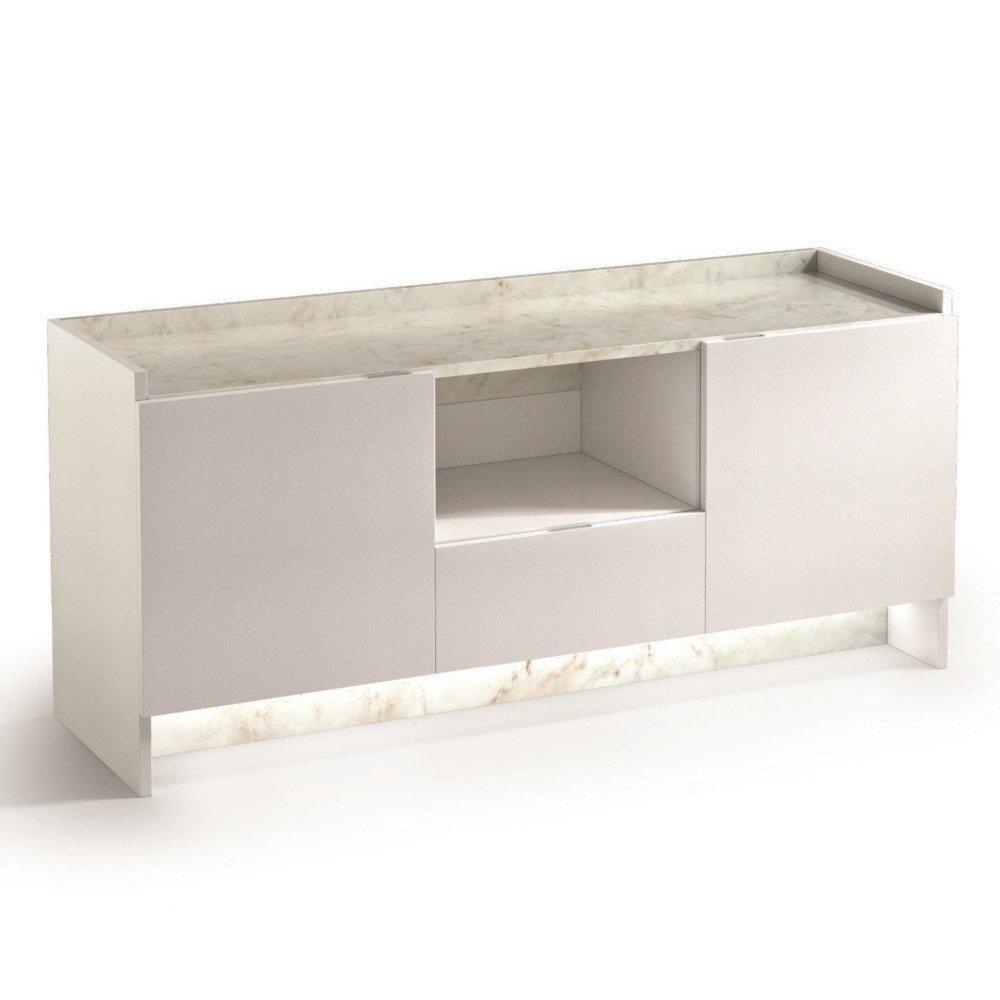 Inside 75 Buffet 2 portes et 1 tiroir MARVEL aspect blanc plateau marbre éclairage led intégré