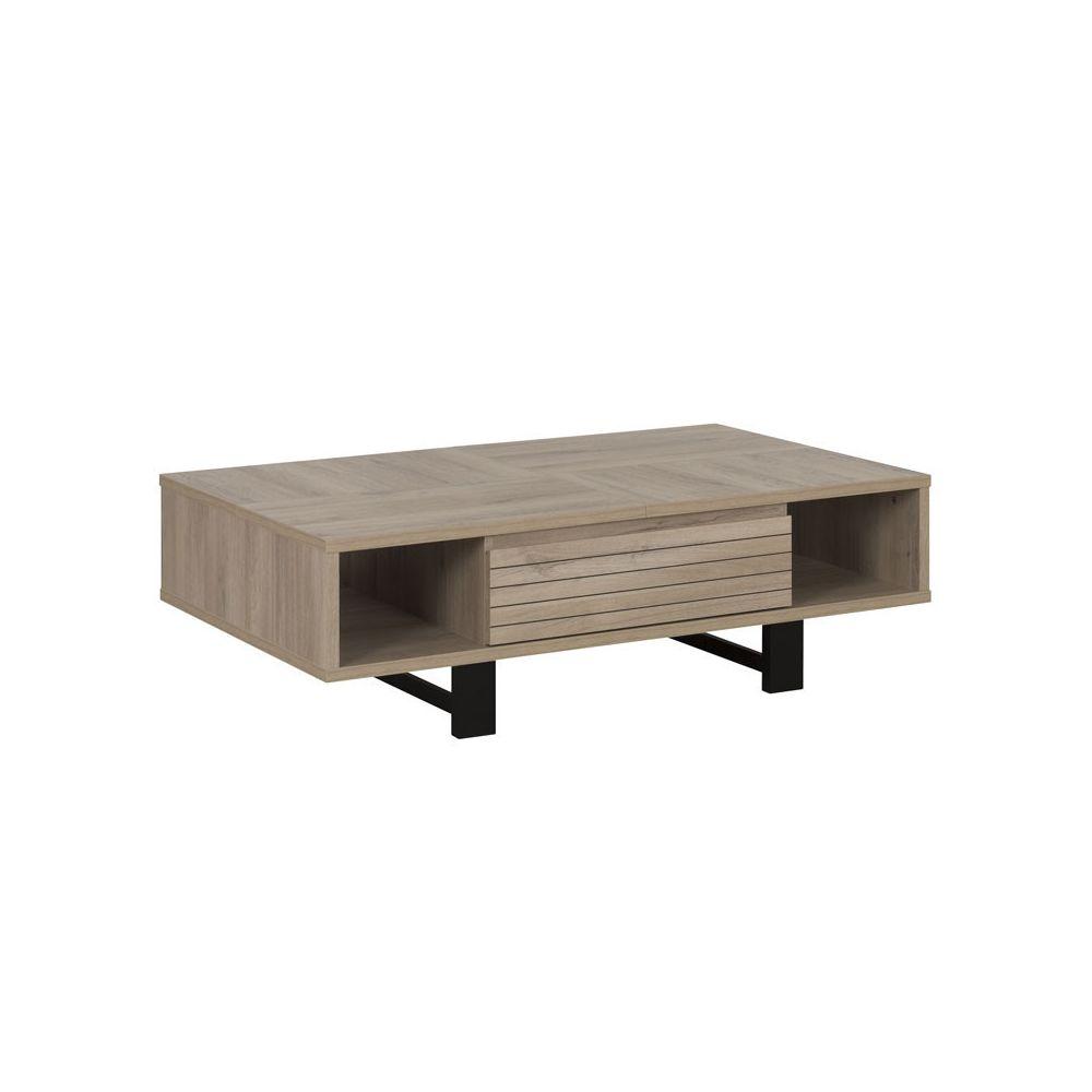 Tousmesmeubles Table basse 1 tiroir Chêne clair/Noir - NINA