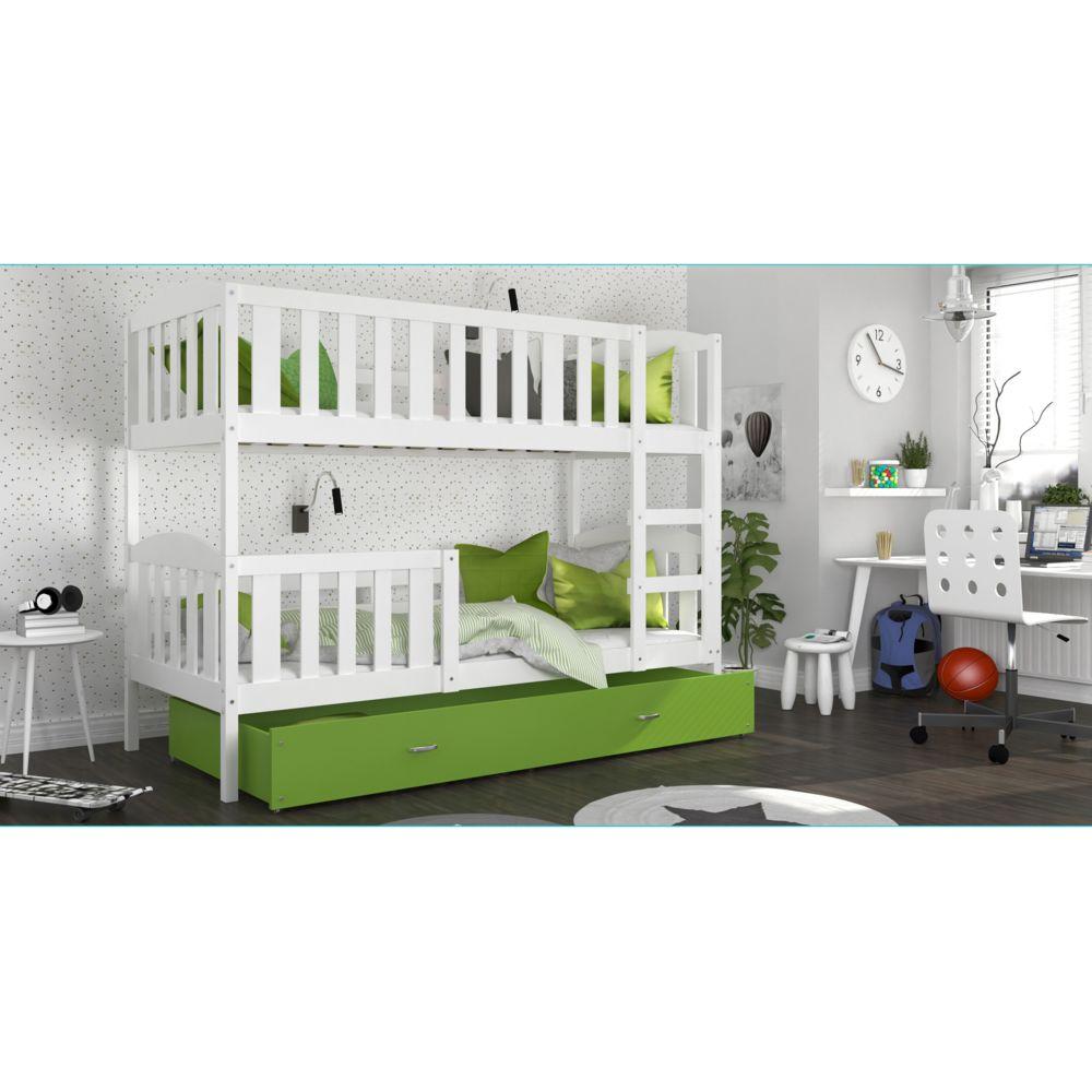 Kids Literie Lit superpose Téo 90x190 blanc vert livré avec tiroir,2 sommiers et 2 matelas en mousse de 7cm offerts