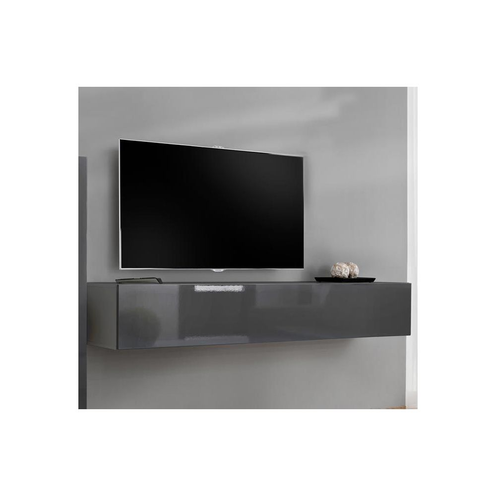 Design Ameublement Meuble TV modèle Berit 180x30 couleur gris