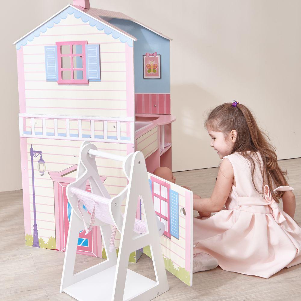 Teamson Kids Maison de poupée poupon nurserie 2 façades berceau bain chaise haute bascule bois mixte fille Olivia's Little World TD-1
