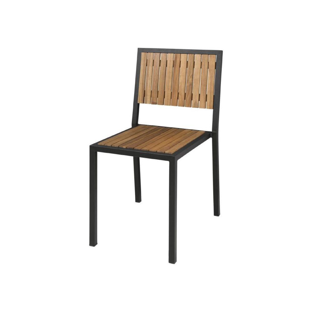Materiel Chr Pro Chaise en Acier & Bois d'Acacia - Lot de 4 - Bolero -