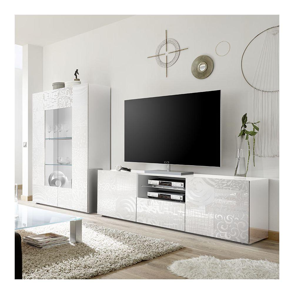 Kasalinea Grand ensemble télé blanc laqué design NERINA
