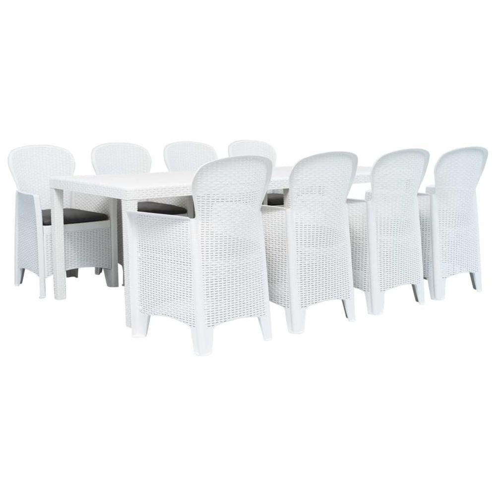 Vidaxl vidaXL Meuble à dîner d'extérieur 9pcs Plastique Blanc Aspect de rotin