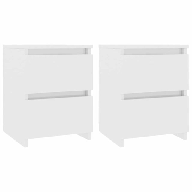 marque generique - Icaverne - Tables de chevet edition Tables de chevet 2 pcs Blanc brillant 30 x 30 x 40 cm Aggloméré - Chevet