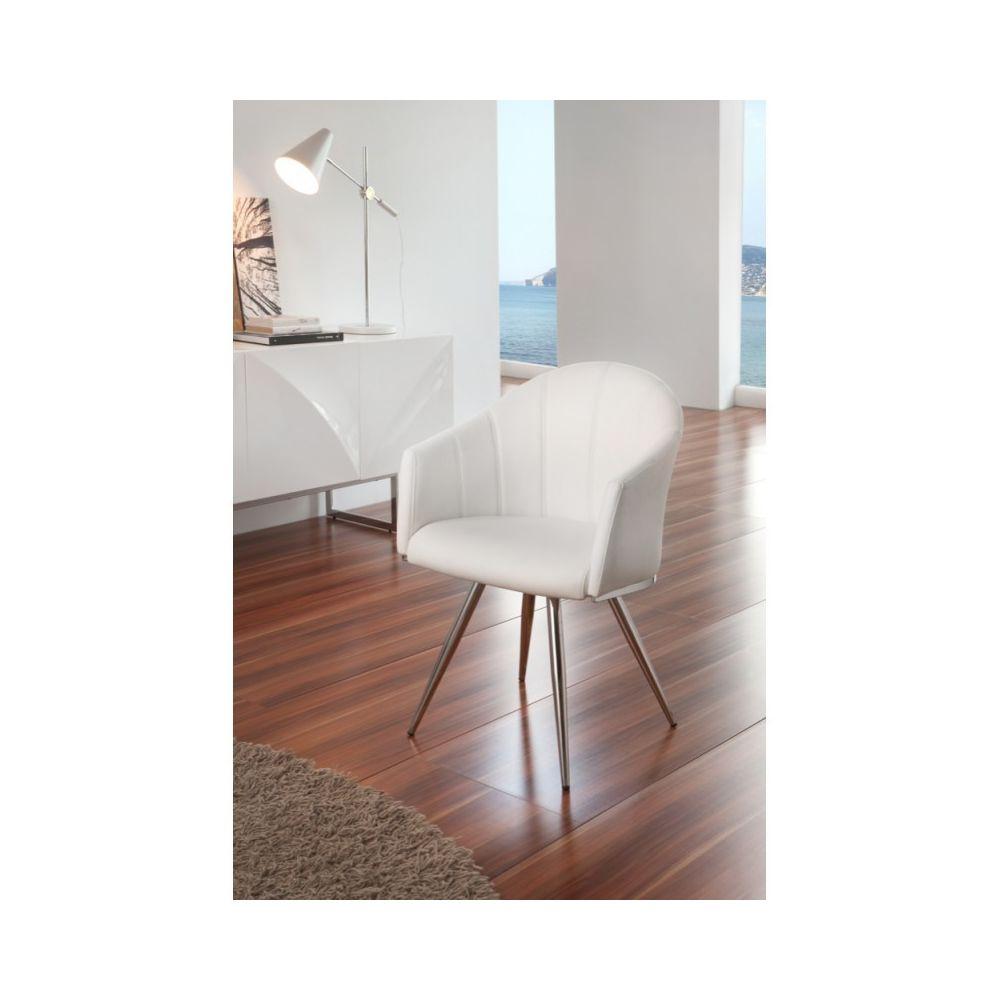 Ma Maison Mes Tendances Lot de 2 Chaises pivotantes en simili cuir blanc et pieds chromés SALANA - L 56 x l 76 x H 74