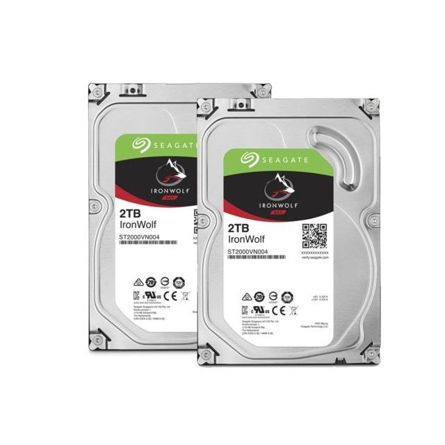 Seagate - Lot de 2 Ironwolf 2 To - 3.5'' SATA III 6 Go/s - Cache 64 Mo - Disque Dur interne