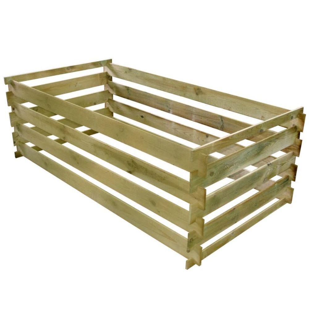 Vidaxl Bac de compostage à lattes Bois de pin imprégné 160 x 80 x 58 cm | Brun