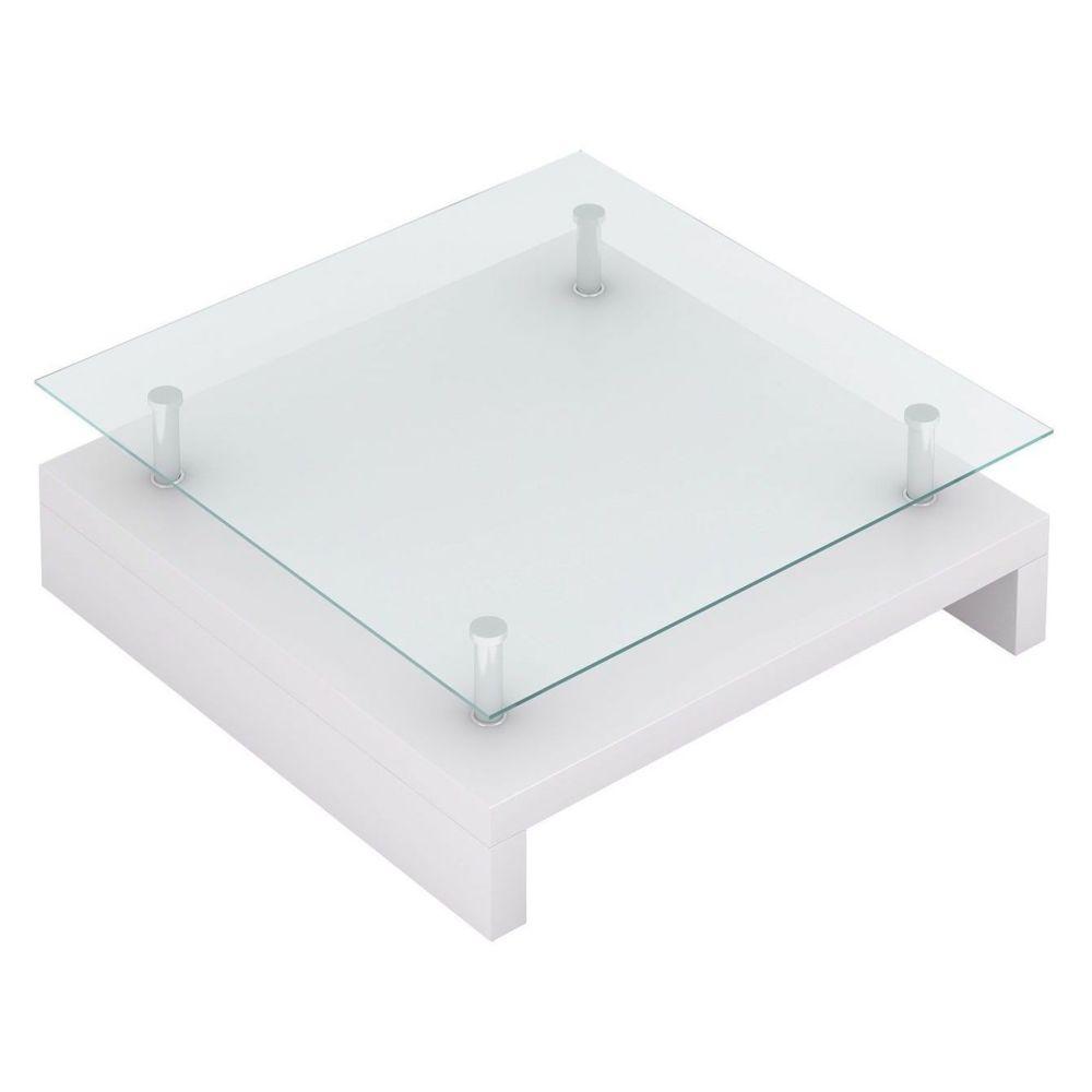 Helloshop26 Table basse de salon salle à manger design blanche verre 77 x 77 cm 0902009