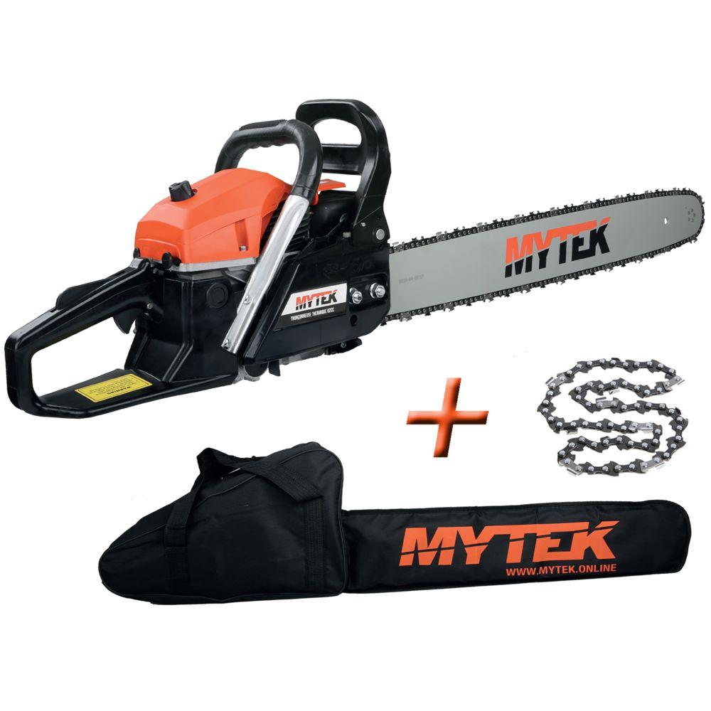 Mytek mytek - tronçonneuse thermique 62cm3 avec 2 chaines guide 60cm et housse - gpsot83230