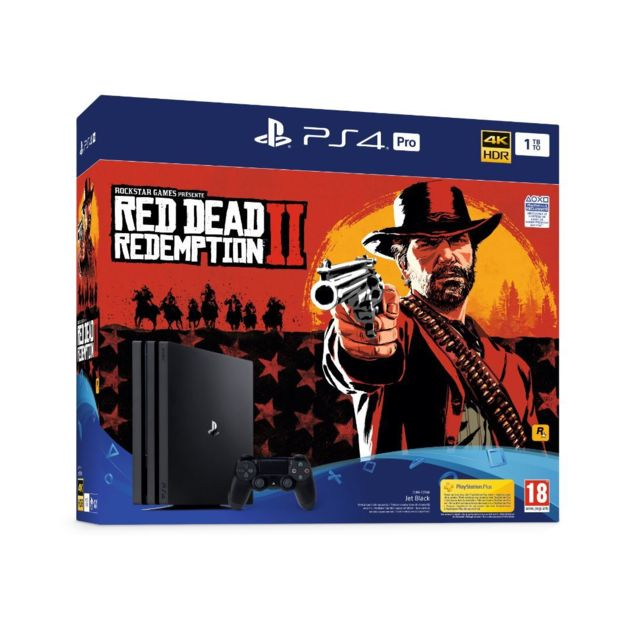 Sony - PS4 PRO 1 To châssis G Black + Red Dead Redemption 2 - Standard Edition - Sony