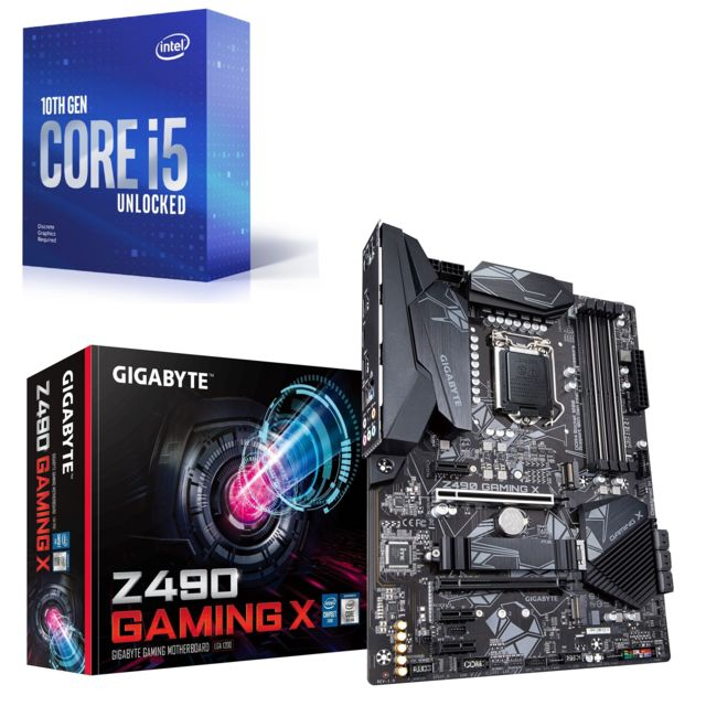 Intel - Core i5-10400F - 2.9/4.3 GHz + Z490 GAMING X - ATX - Kit d'évolution Intel