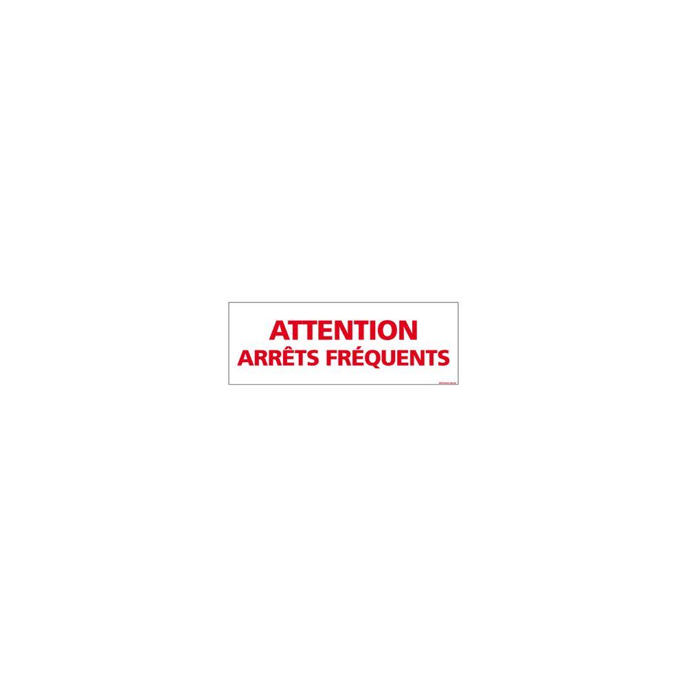 Signaletique Biz Adhésif Magnétique - Attention Arrêts Fréquents - Dimensions 1000x300 mm - Blanc - Protection Anti-UV