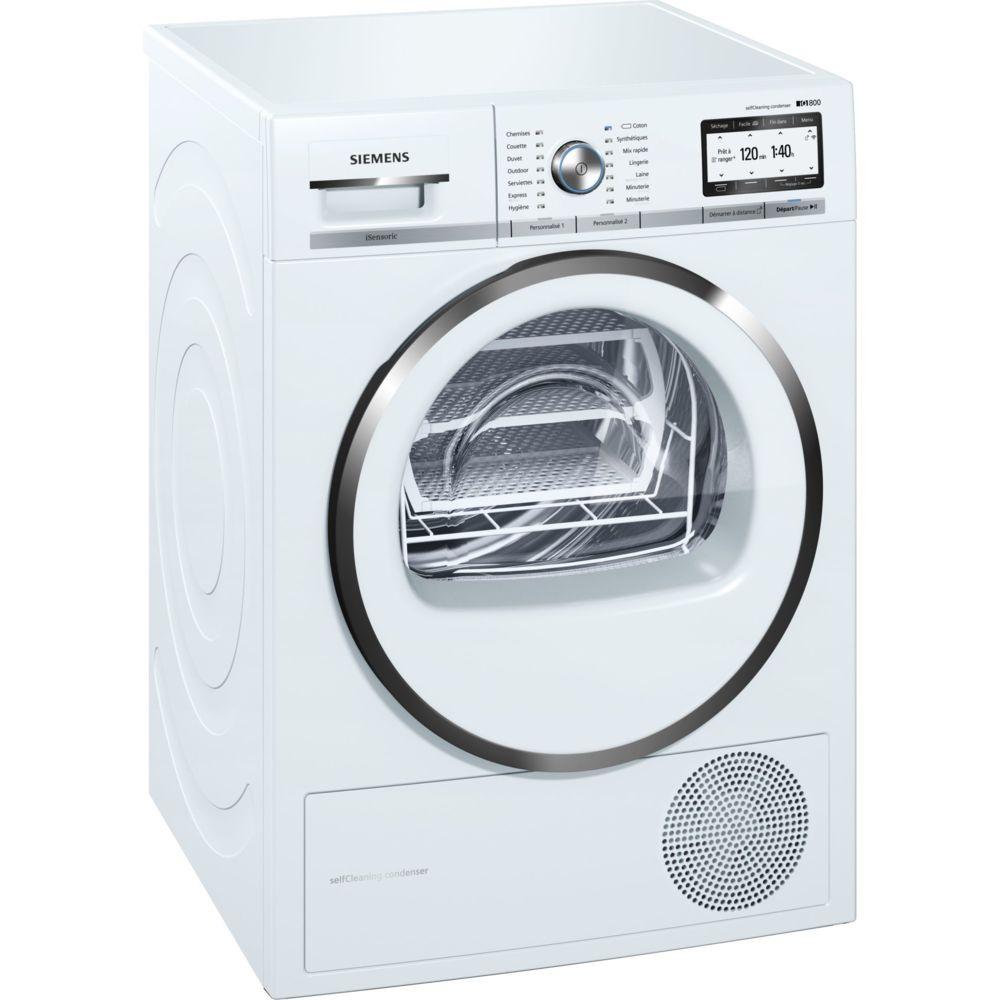 Siemens siemens - sèche-linge pompe à chaleur avec condenseur 60cm 9kg a++ blanc - wt47y8h2ff