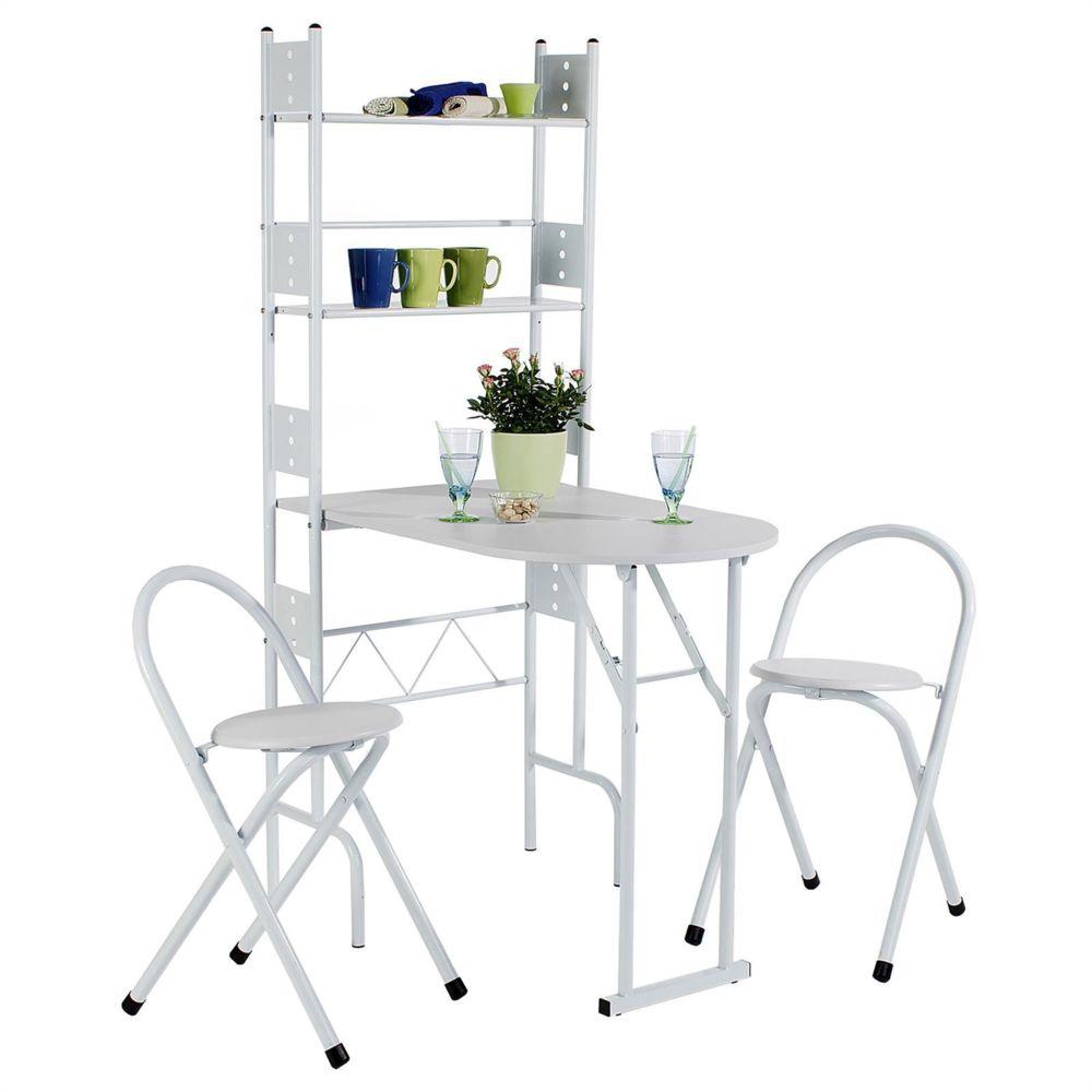 Idimex Ensemble JONATHAN avec table de cuisine comptoir pliable et 2 chaises/tabourets, en MDF blanc et structure en métal laqu