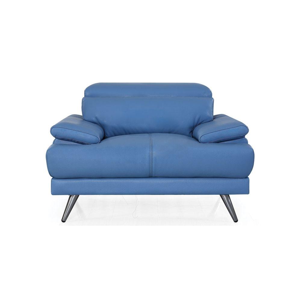 La Maison Du Canapé Fauteuil cuir Design LENA - {habillage_canape_cuir} - Bleu
