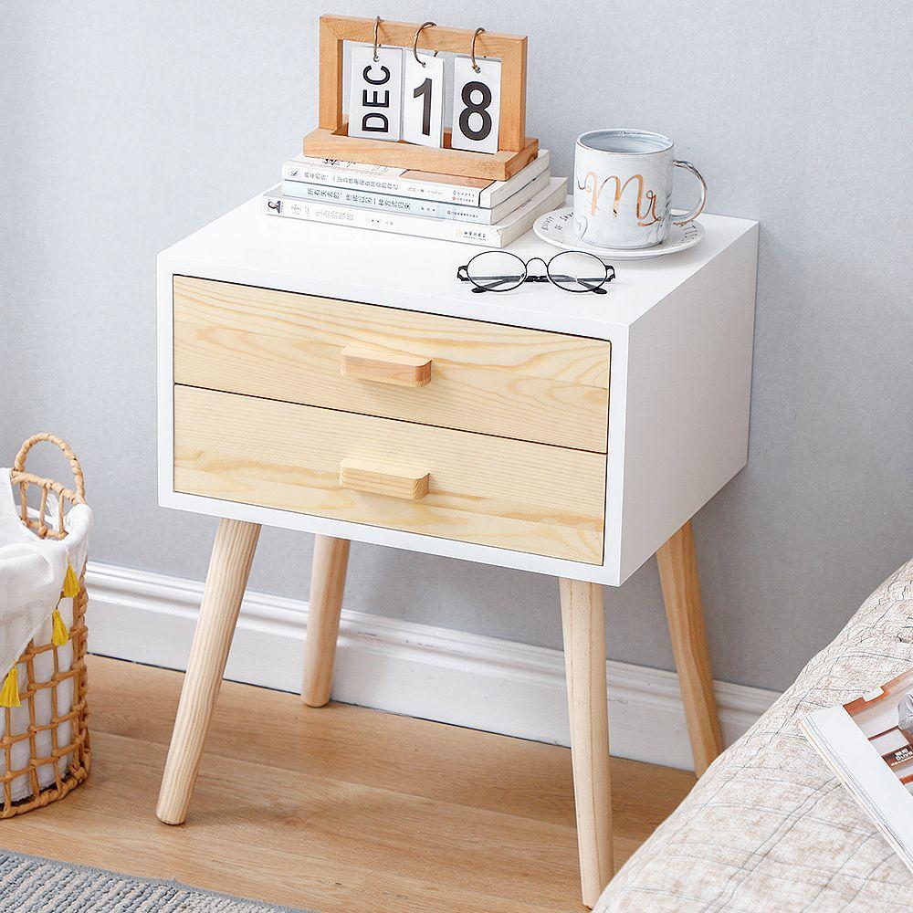 Jeobest Tables de Chevet Bois blanc Style Scandinaves avec 2 tiroirs