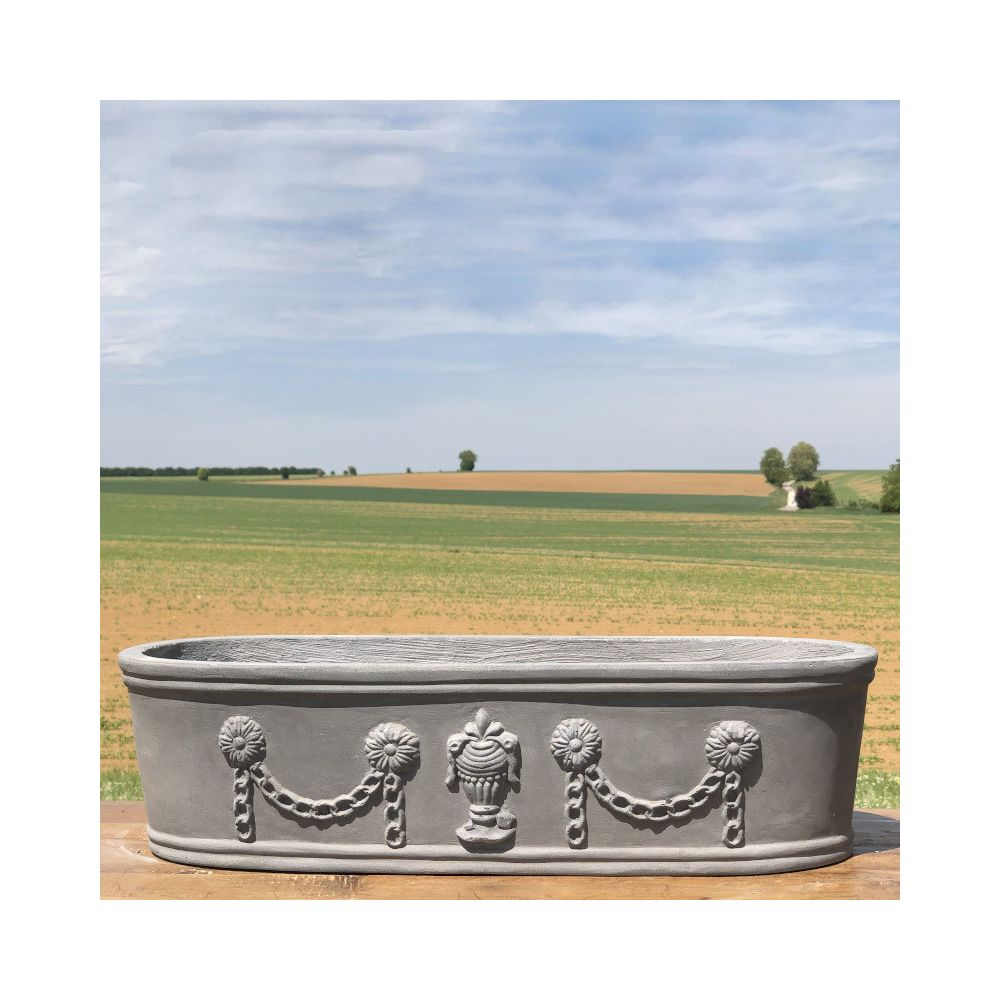L'Originale Deco Grande Jardinière Pot Vasque Médicis Fenêtre Jardiniere Balcon Guirlande Gris Fonte Gris Plomb 60 cm x 23 cm