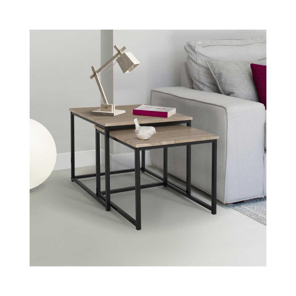 Idmarket Lot de 2 tables basses gigognes DETROIT design industriel