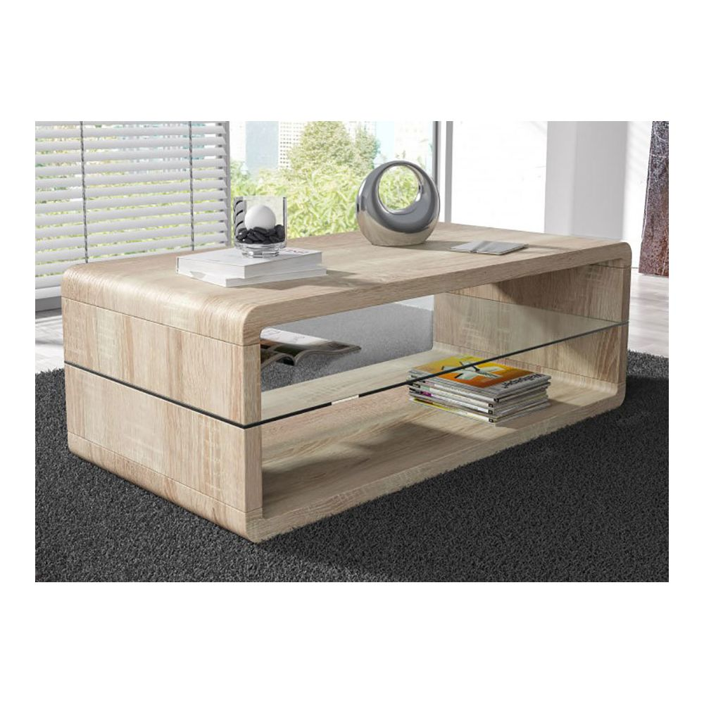 Sofamobili Table basse moderne couleur chêne foncé LORENE, 2 coloris